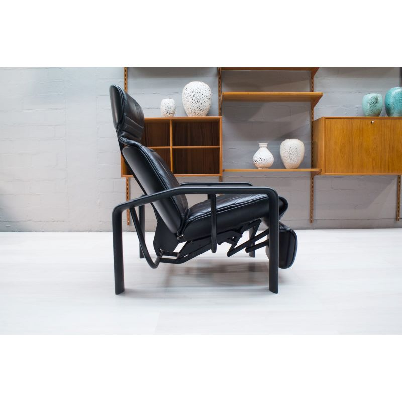 Cool Vintage Black Leather Lounge Chair 1980S Pabps2019 Chair Design Images Pabps2019Com
