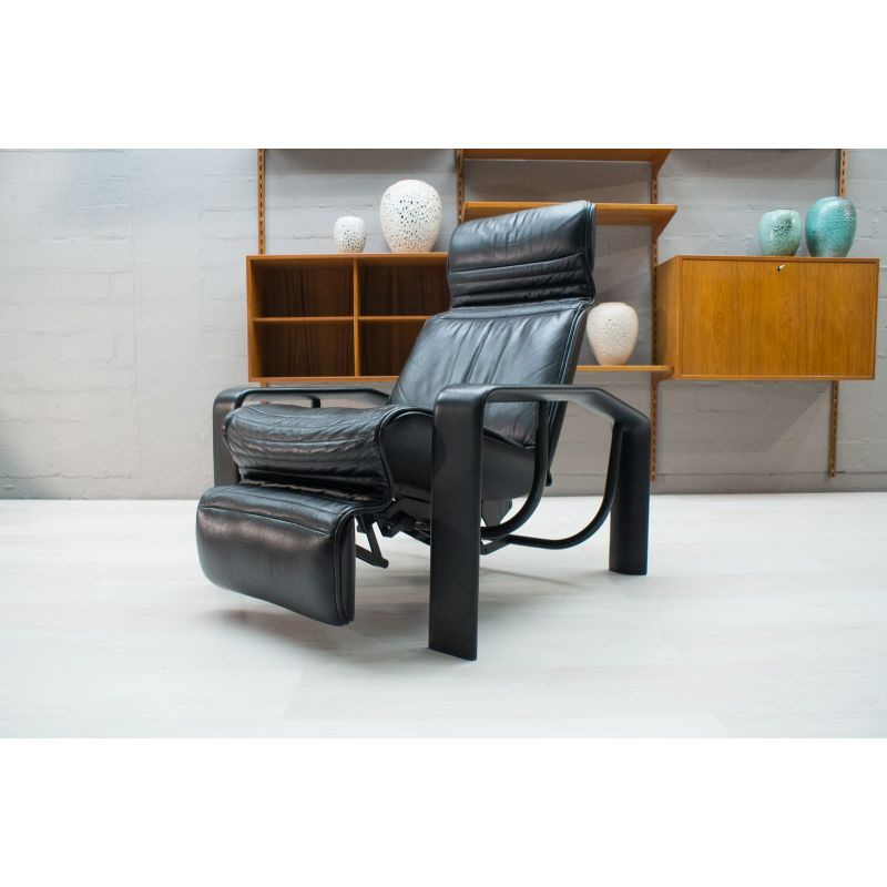 Fabulous Vintage Black Leather Lounge Chair 1980S Pabps2019 Chair Design Images Pabps2019Com