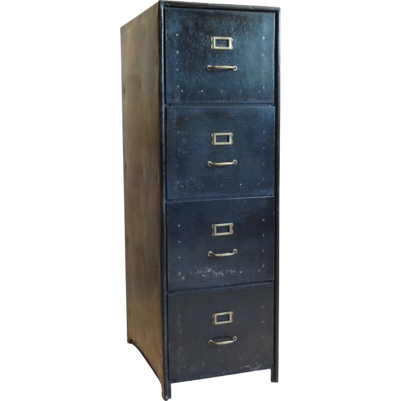 Storage unit with 4 drawers in steel and brass - 1960s