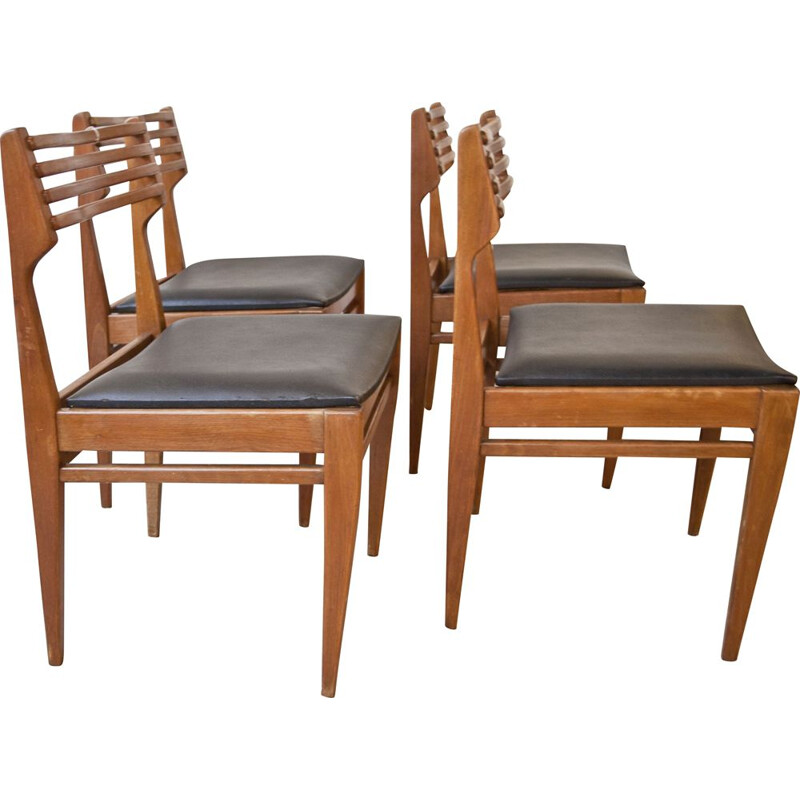 Set of 4 vintage scandinavian teak chairs, 1960s