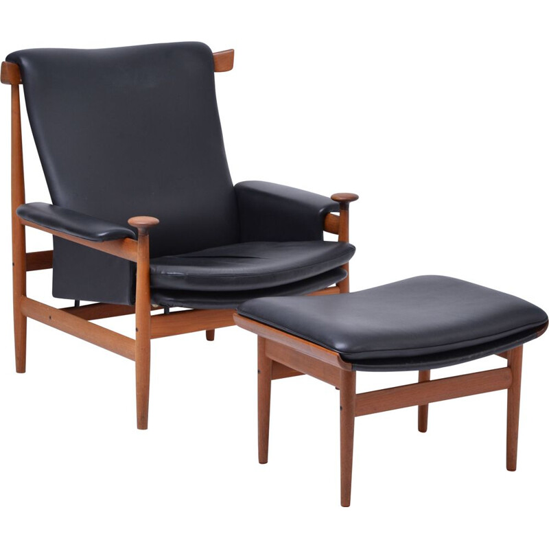 Black vintage armchair model Bwana with foot stool by Finn Juhl for France & Sons, 1960s