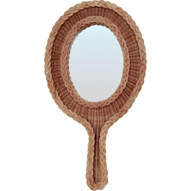 Rattan vintage wall mirror, 1950s