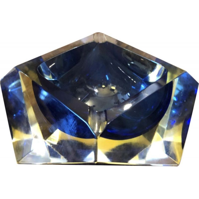 Yellow and blue Murano glass vintage ashtray by Seguso, 1970s
