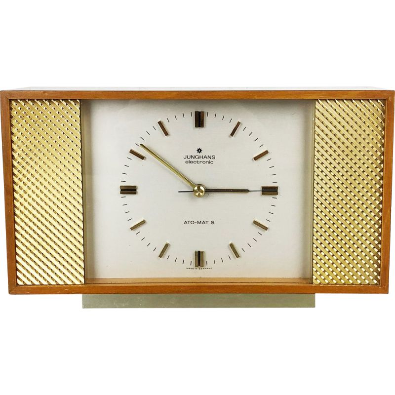 Vintage Table Clock in teak by Junghans Electronic, Germany 1960