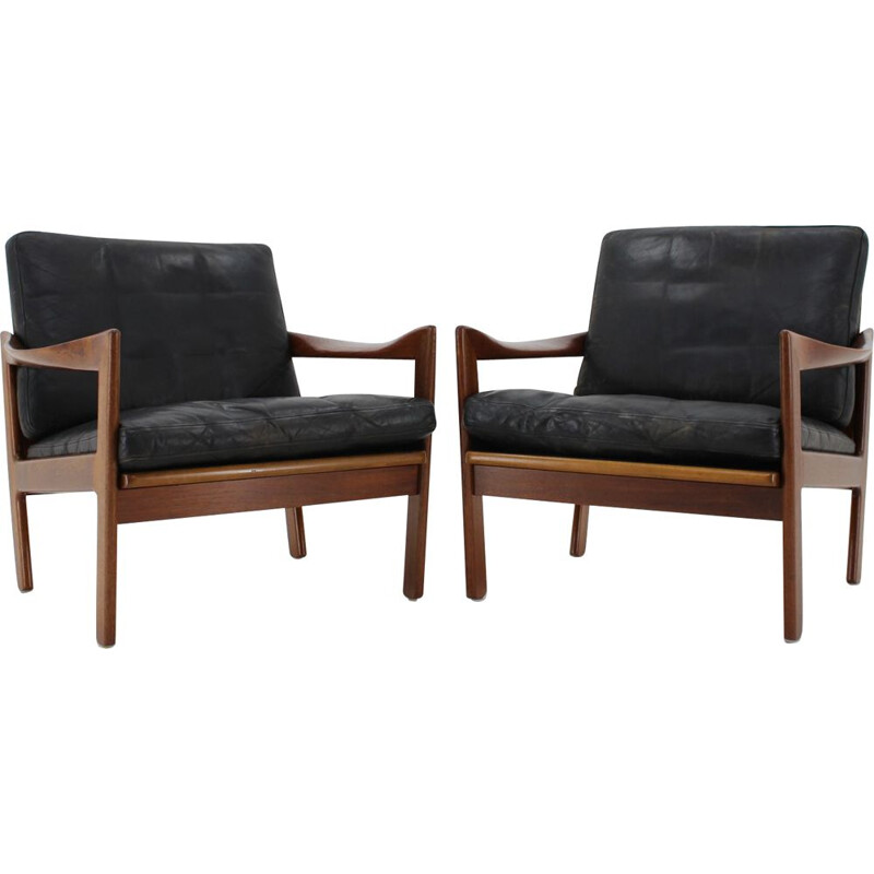 Set of 2 vintage teak armchairs by Illum Wikkelsø, 1960s
