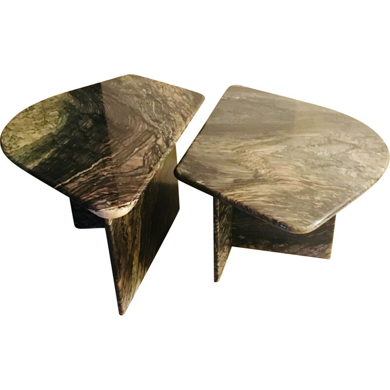 Set of 2 vintage marble coffee tables, 1970s