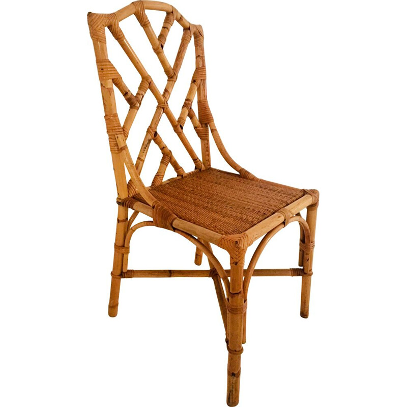 Set of 2 vintage bamboo dining chairs, Italy, 1960s