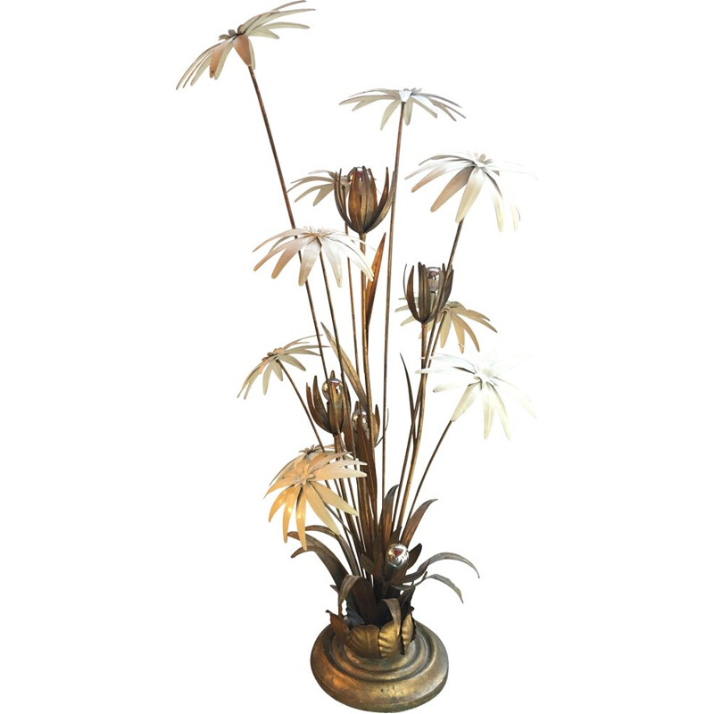 Vintage floral floor lamp in brass and metal by Hans Kogl, 1970s