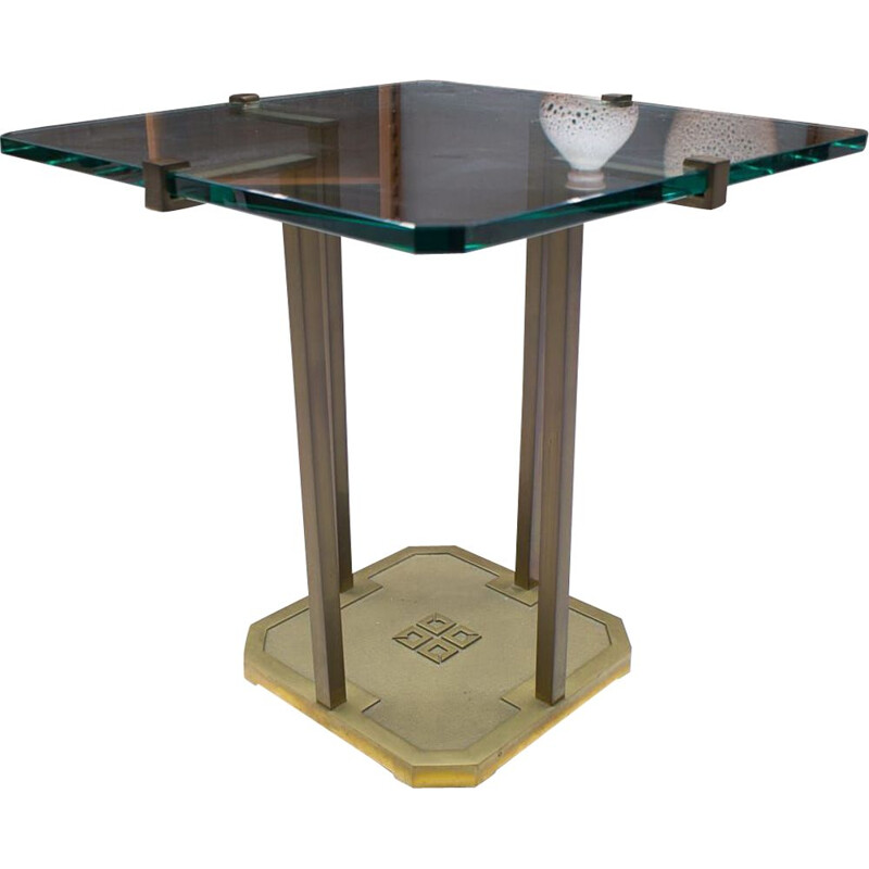 Vintage brass and glass T19 dining table by Peter Ghyczy, 1970s