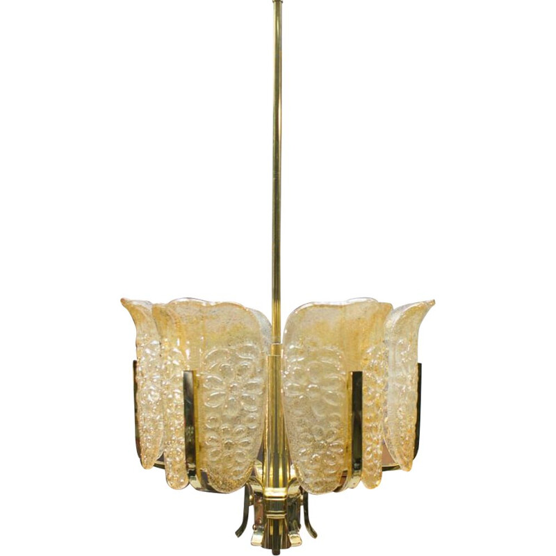 Vintage glass and brass pendant lamp by Carl Fagerlund for Orrefors, 1960s