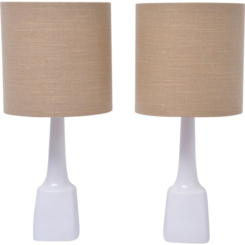 Set of 2 vintage white ceramic table lamps model 941 by Soholm, 1970s
