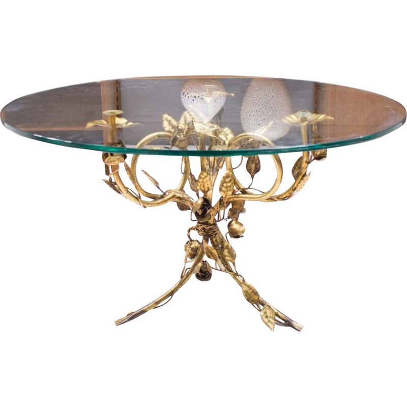 Vintage metal and glass coffee table, Italy, 1960s