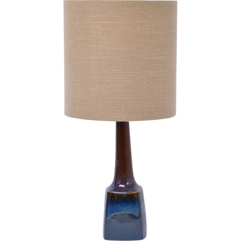 Vintage blue ceramic model 941 table lamp by Soholm, 1970s
