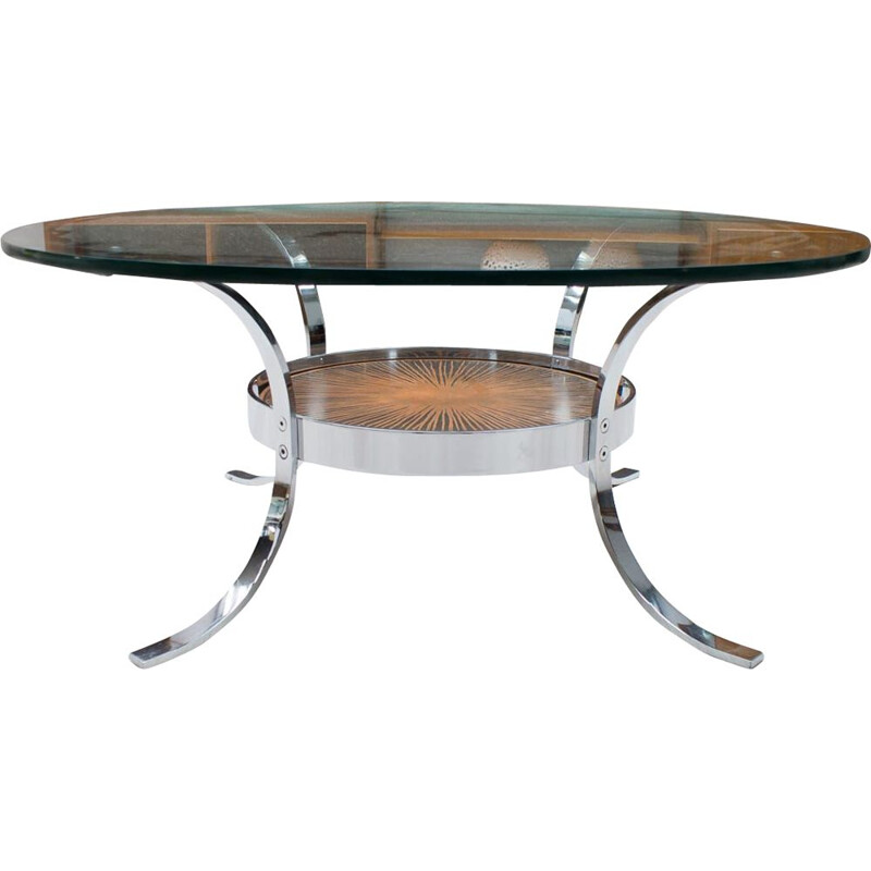Vintage chrome and copper coffee table from Kondor, 1960s