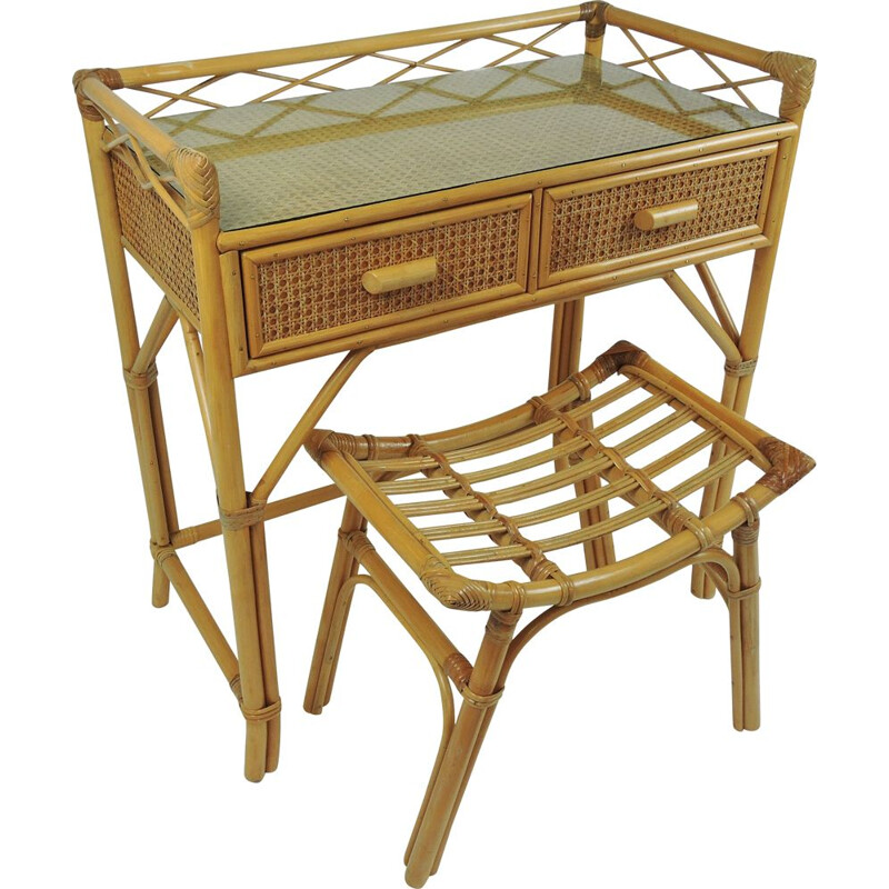 Vintage bamboo & rattan dressing table with stool, 1970s