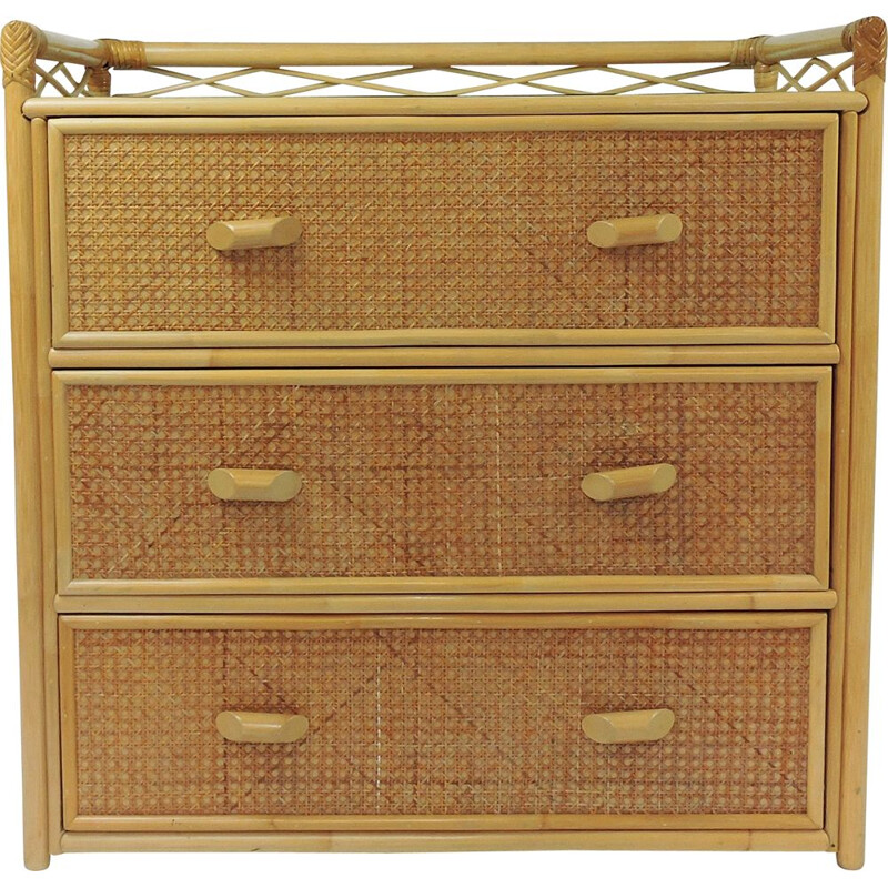 Cane vintage chest of drawers, 1980s