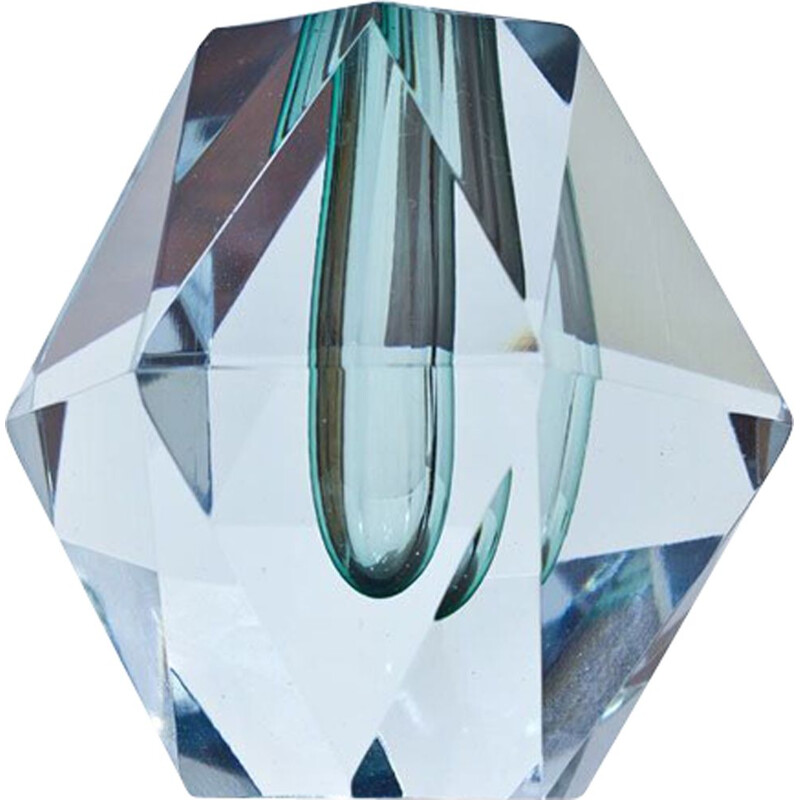 Crystal diamond cut vintage vase by Strömbergshyttan, 1960s