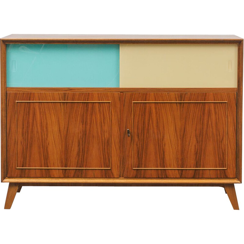 Vintage sideboard with coloured glass doors, 1950s