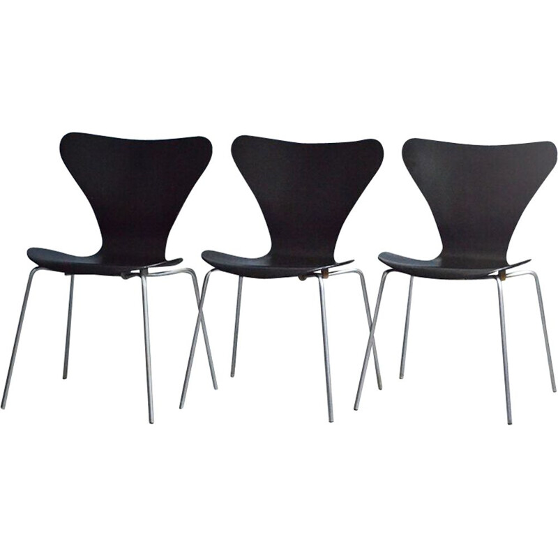 Set of 3 vintage dining chairs series 7 by Arne Jacobsen for Fritz Hansen, 1970