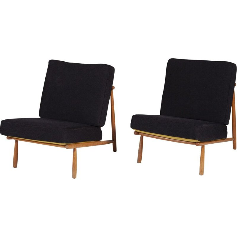 Set of 2 vintage low Lounge chairs by Alf Svensson for Dux, 1952