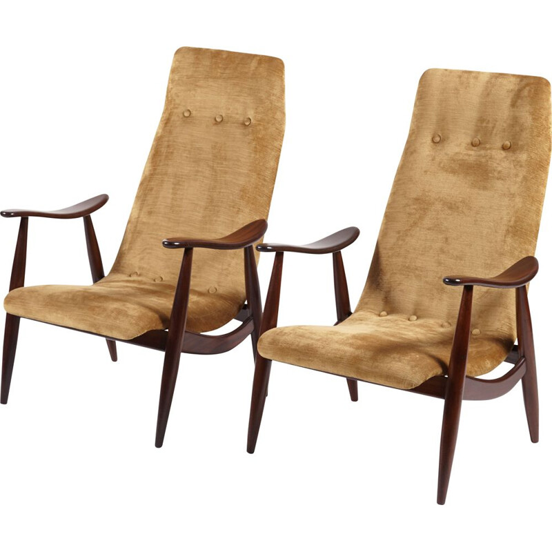 Set of 2 vintage high-back easy chairs by Louis van Teeffelen for WéBé, 1950