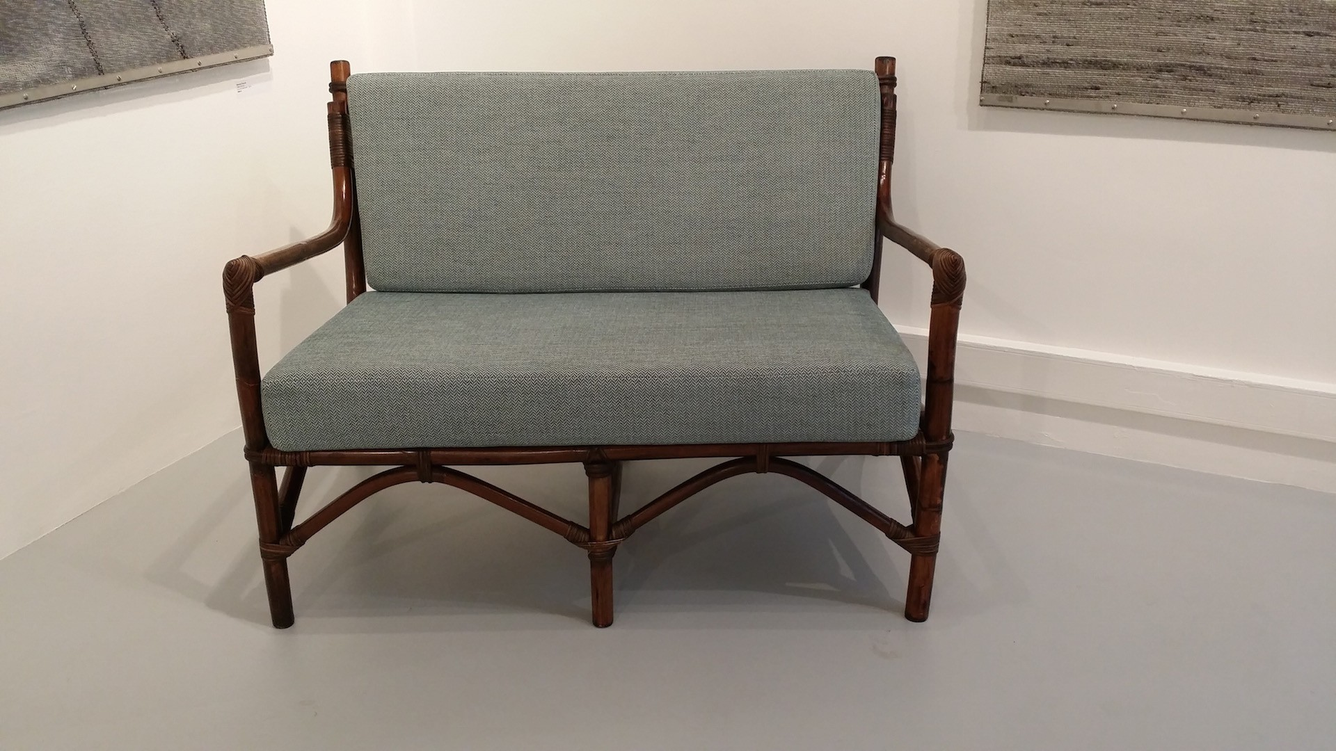 2 Seater Sofa In Philippines Cane Wood And Fabric 1960s