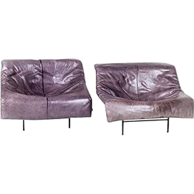 Set of 2 vintage leather and metal Butterfly Lounge Chairs by Gerard van den Berg for Montis, 1980