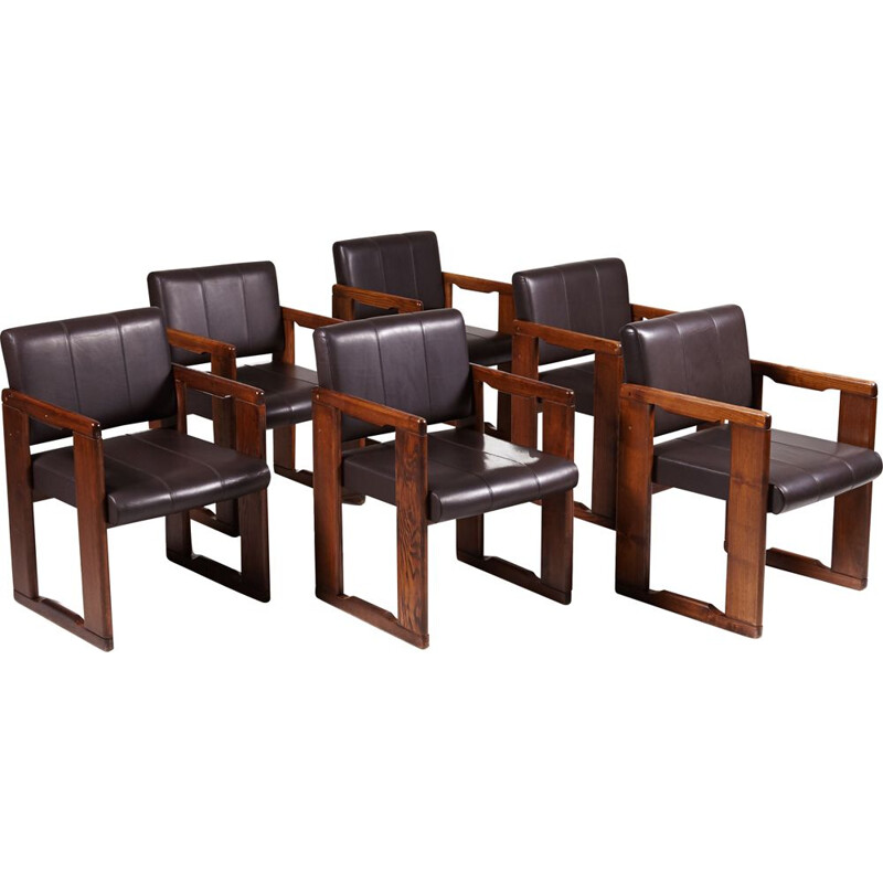 Set of 6 vintage leather dining chairs by Tobia & Afra Scarpa, 1970