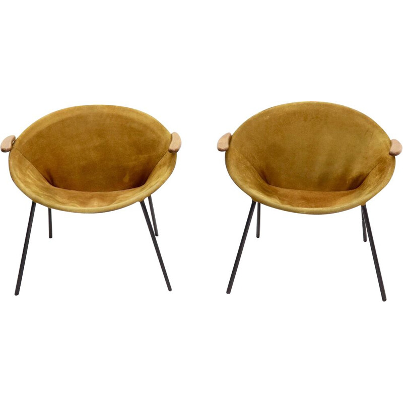 "Set of 2 vintage ""Balloon"" armchairs by Hans Olsen for Lea Design, Denmark, 1960s"