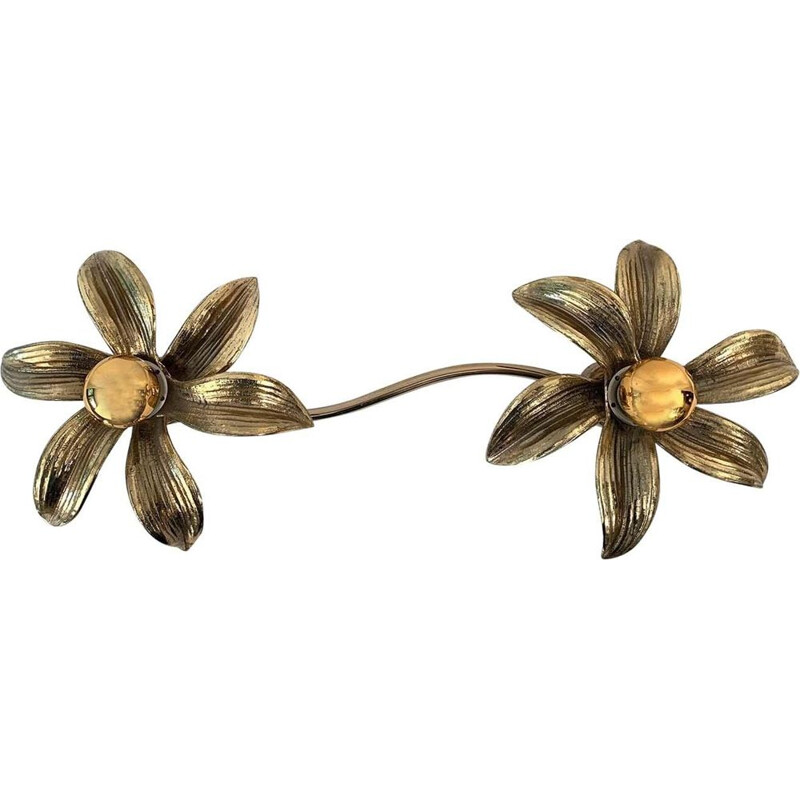 Vintage wall light with two flowers by Willy Daro, 1970s