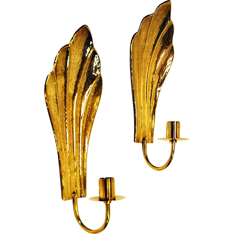 Set of 2 vintage brass wall candleholders by Lars Holmström, Sweden, 1960s