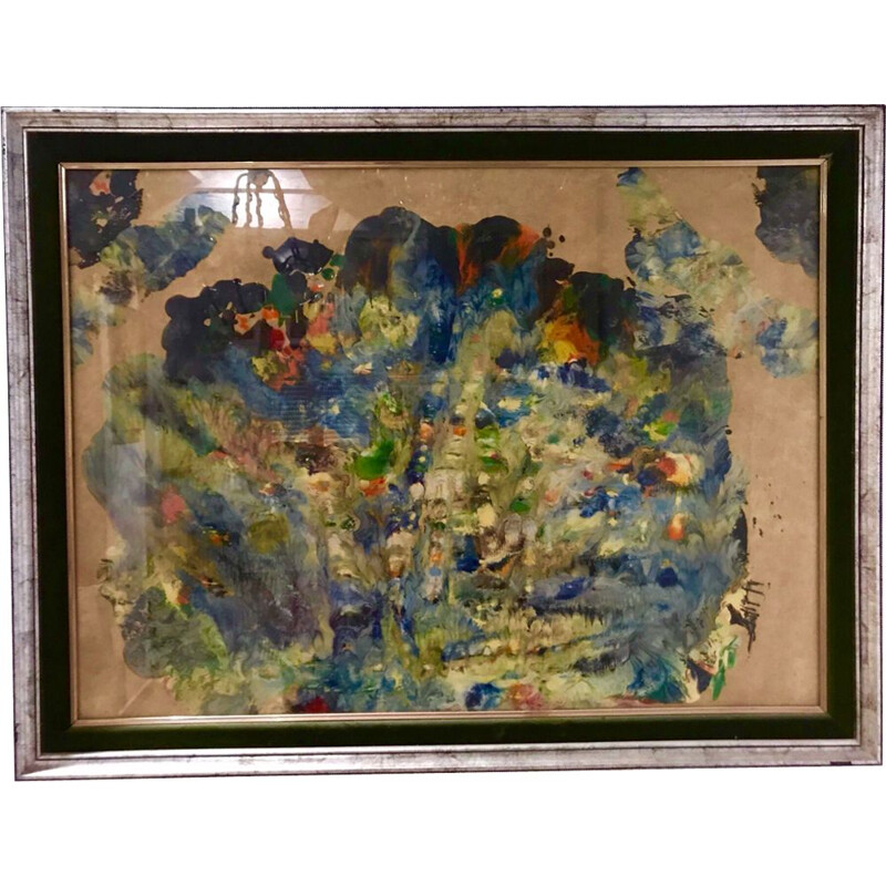 Vintage painting with multicolored sand 1960