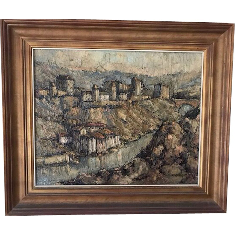 Vintage spanish impressionist post-painting signed 1930