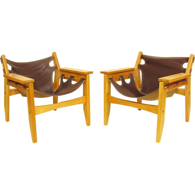 """Pair of vintage """"Kilin"""" chairs by Sergio Rodrigues 1970"""