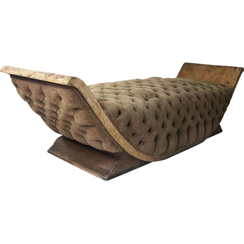 Art Deco Distressed Gondola Lounge Chair Daybed Sofa Armchair