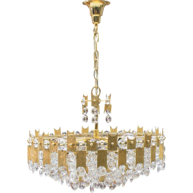 Vintage large chandelier in gold-plated bronze & crystal glass by Palwa, 1970