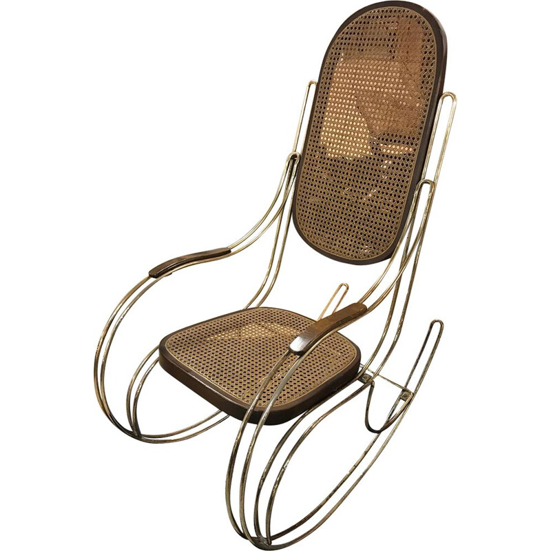 Vintage rocking chair in wicker and brass, 1960s