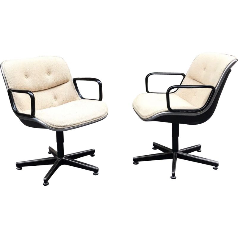 Set of 2 vintage armchairs by Charles Pollock for Knoll, 1970s