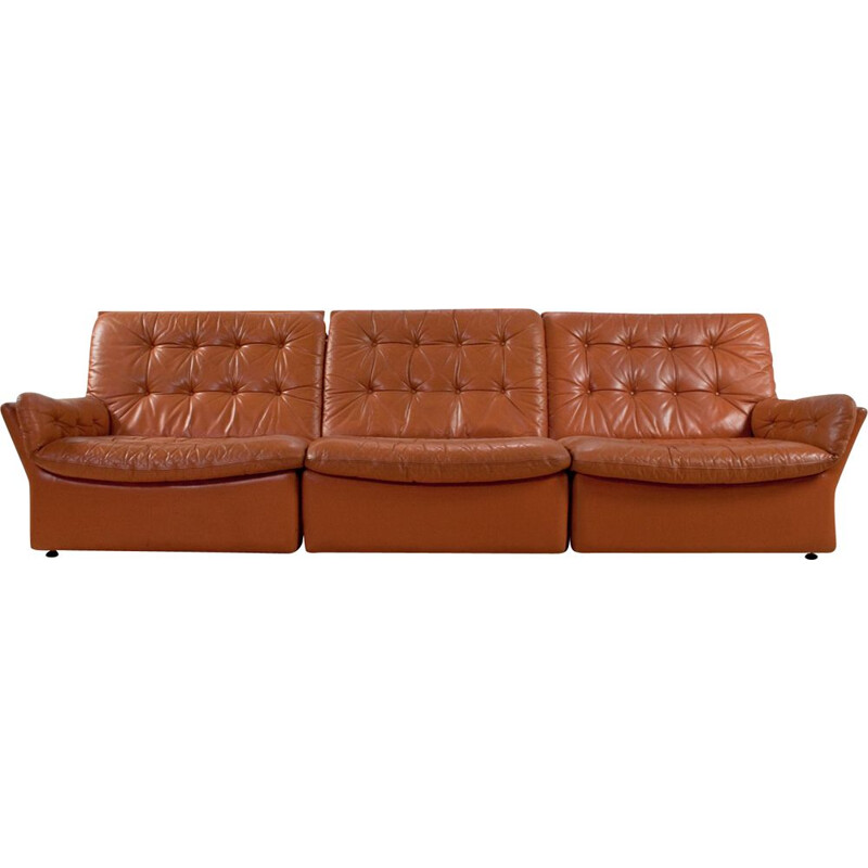 Vintage brown cognac 3-seater sofa in leather, 1970s
