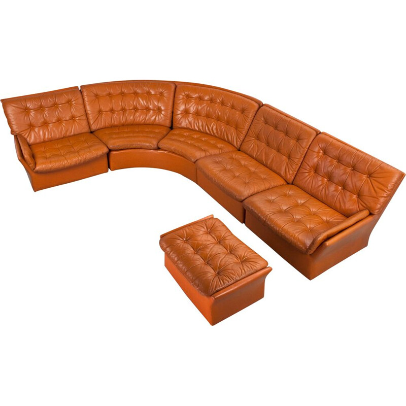 Vintage corner sofa in brown leather, 1970s