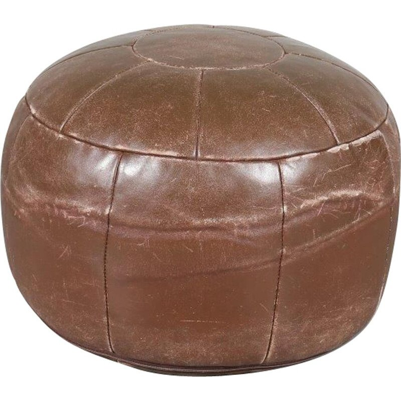 Vintage brown leather pouf, 1960s