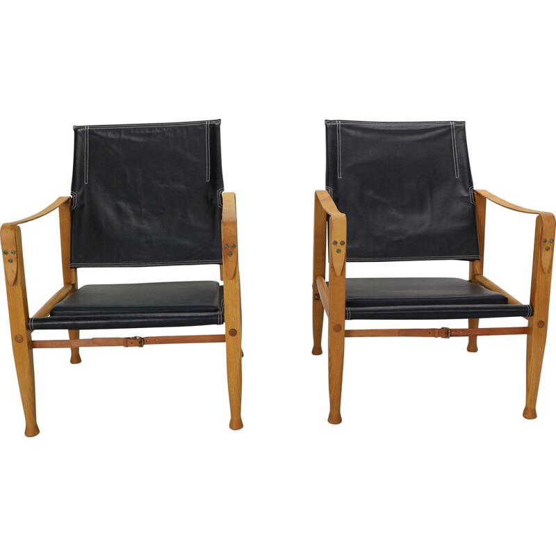 Pair of black leather safari chairs by Kaare Klint for Rud Rasmussen, 1950
