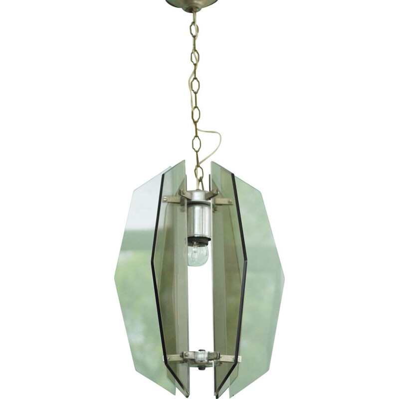 Glass vintage pendant light by Veca, 1970s
