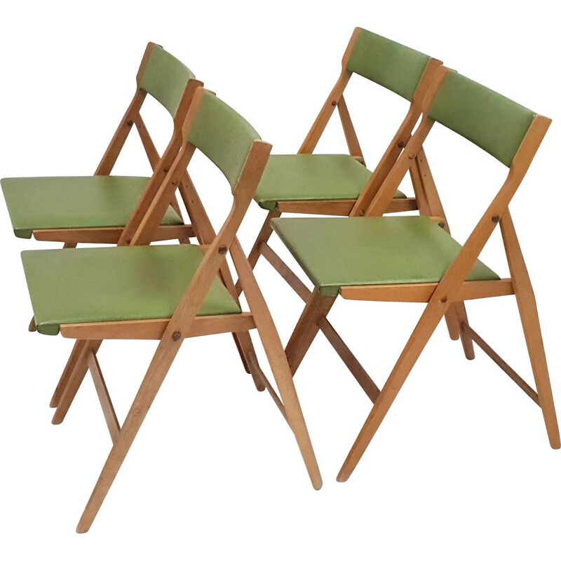 Gio Ponti's 4 Eden vintage folding chairs suite for Fratelli Reguitti, 1960s