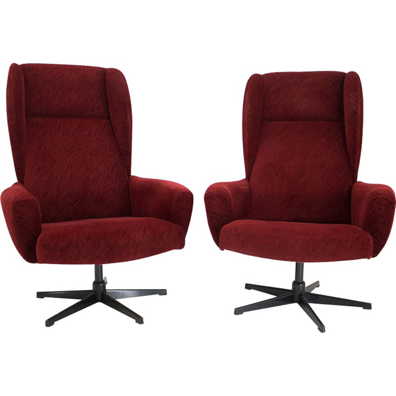 Vintage swivel wing armchair in red, 1980s