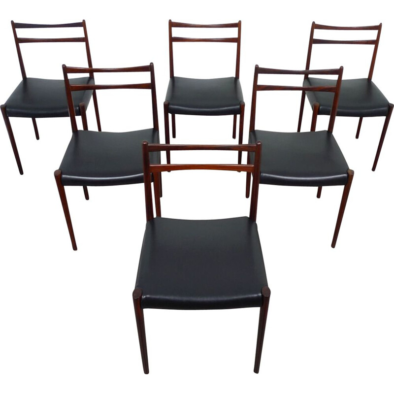 Set of 6 rosewood vintage dining chairs, Denmark, 1960s
