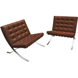 Pair of Barcelona easy chairs for Knoll, Ludwig MIES VAN DER ROHE - 1980s