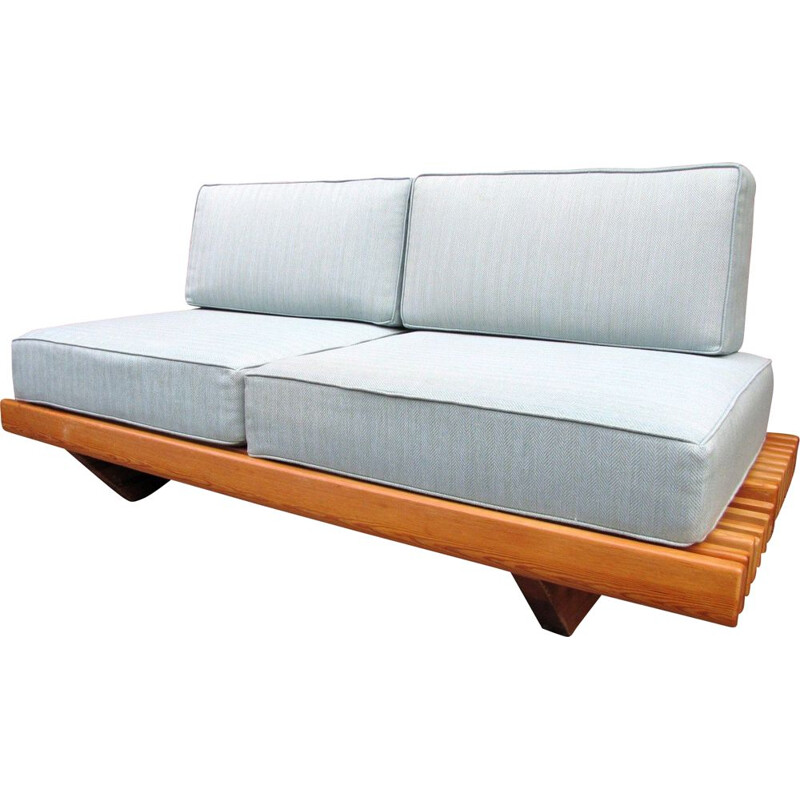 Vintage Sofa couch bench in pine and cushions 1970