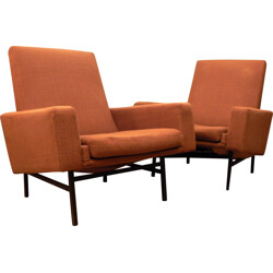 Pair of Steiner armchair in metal and fabric, ARP - 1950s