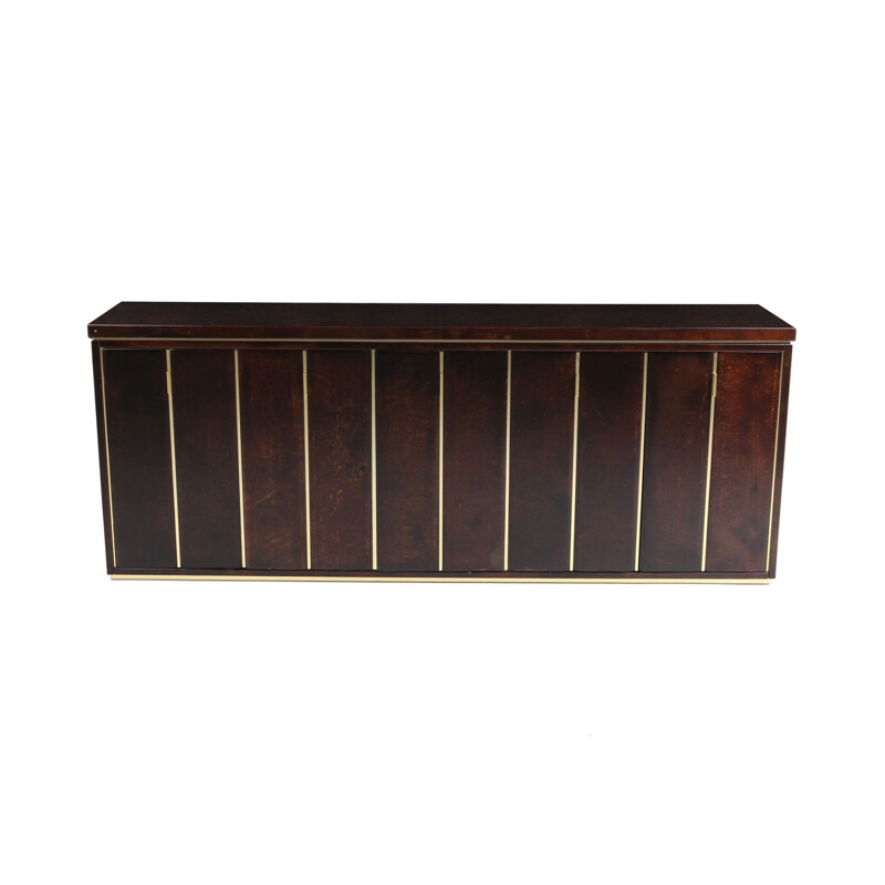 Vintage credenza in brass and parchment by Aldo Tura, 1960s